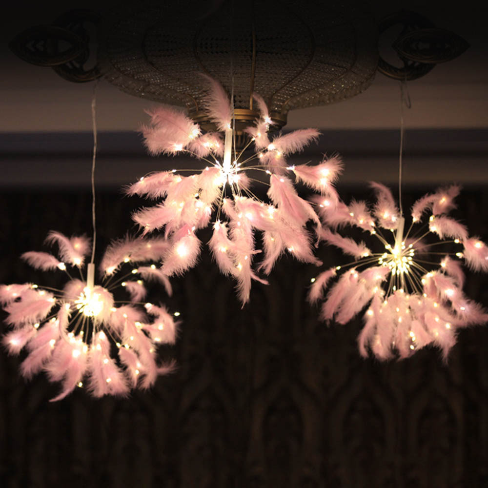 LED String Feather Wing Night Light Wireless Remote Fireworks Shape Pendant Lamp Bedroom Holiday Christmas Decoration
