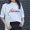 2017 Coréia Do Sul ulzzang carta bordado Harajuku solta de manga curta t-shirt feminina T-shirt Topos