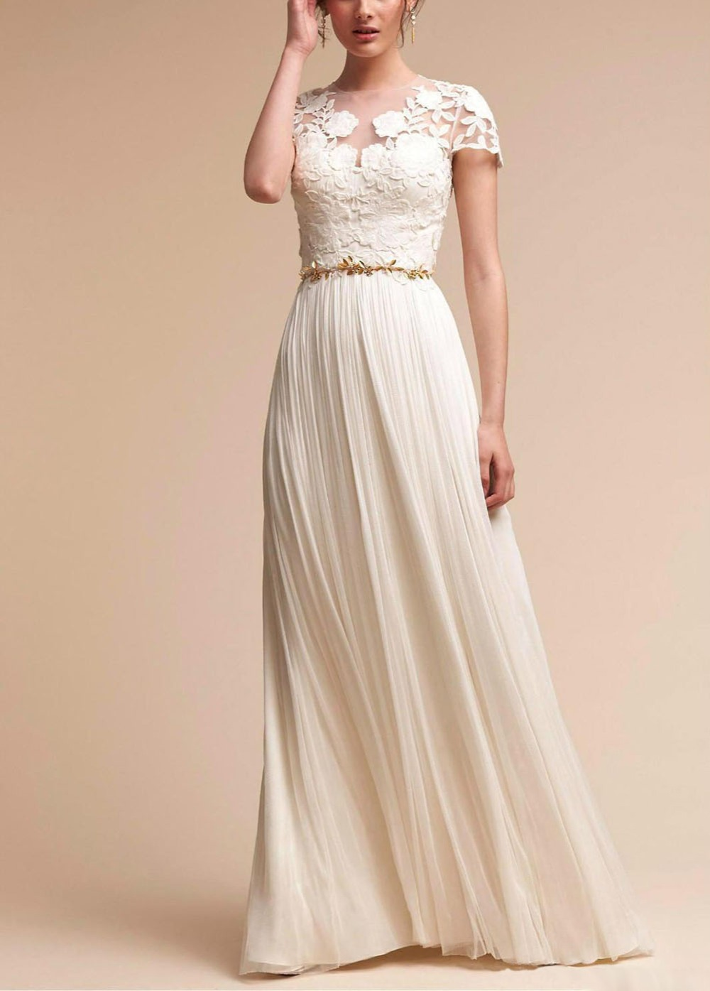 Setwell 2019 Jewel A line Beach Wedding Dress Short Sleeves Pleated Lace Chiffon Bridal Gown With Belt