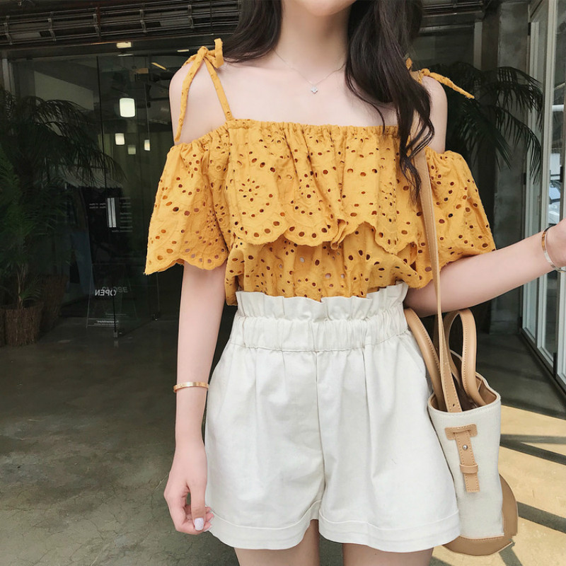 High Quality Women Fashion Shirts Spaghetti Strap Ruffles Short Sleeve Blouse Flower Lace Blouse Women Tops Chemise Blusa 2019