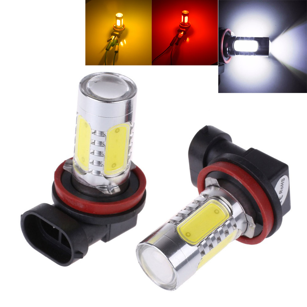 2Pcs White H8 lampa H11 LED COB ampul