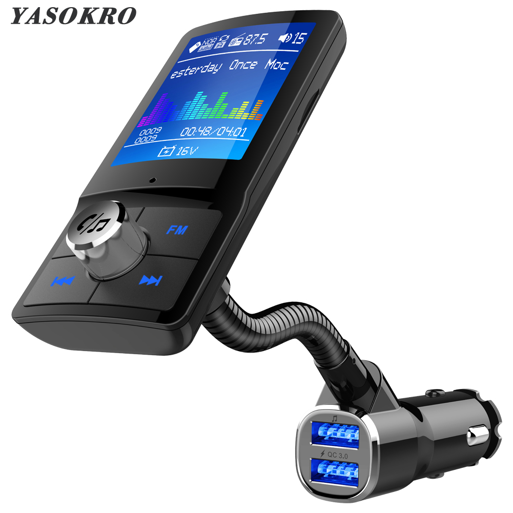 Color Screen FM Transmitter Car MP3 Wireless Bluetooth Hands free Car Kit with QC 3.0 Dual USB Car Charger Support TF & U Disk