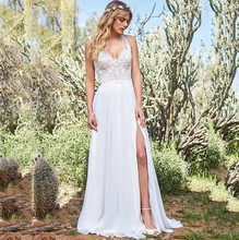 Halter Neck Chiffon Boho Beach Wedding Dress With Lace Appliques Sexy Side Slit Sleeveless Bridal Gown