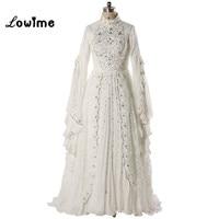 Muslim/Kaftan Wedding Dress 2017 Wedding Gowns with Hijab DuBai Bridal Dresses Long Sleeve vestido de noiva Free Shipping