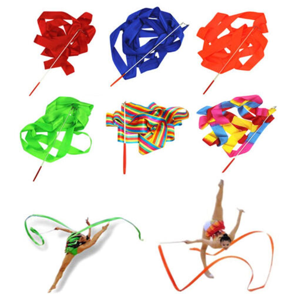 NEW 4m Gymnastics Rhythmic Dancing Ballet Ribbon Streamer Twirling Baton Rod Wand