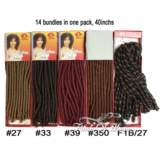2 Pieceslot Retailed Nina Soft Dred Synthetic Hair Bulk Ombre Soft
