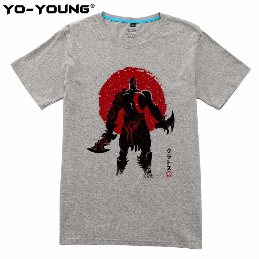 Yo-Young Men Summer T-shirts Game God of War Kratos Red Sun Designs Digital Print 100% Cotton Casual Top Tees Homme Short Sleeve