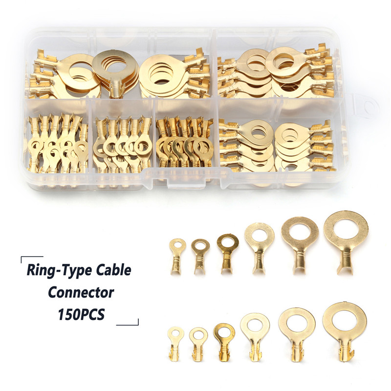 YT 3.2mm-10.2mm Brass Ring Cable Lugs Ring Eyes Gold Golden Non-insulated Wire Cable Connectors Terminals 150PCS Kit Assortment 4 pcs non insulated 8mm stud copper ring terminals wire connectors 100a
