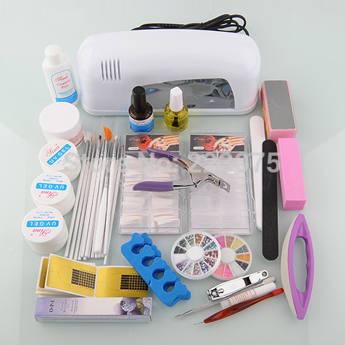 Special Offer Real Acrylic Nail Kit Pedicure Manicure Hot Nail Art Kit Set Uv Gel Dryer File Glue with 9w Lamp btt 116 free shipping pro 36w uv dryer acrylic nail art set acrylic nail kit kit nail gel kit gel nails set with lamp