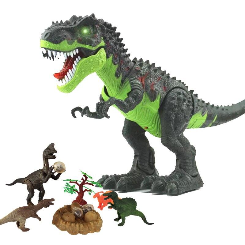 Marche électrique Pondent Des Œufs avec Son Flash Animaux Tyrannosaurus Rex Oviraptor Modèle Dinosaures Enfants Bébé Jouets Cadeau De Noël