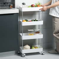 Plastic Floor Type Movable Universal Wheel Storage Rack Shelf Bathroom Kitchen Rectangle Detachable 4layer Home Organization