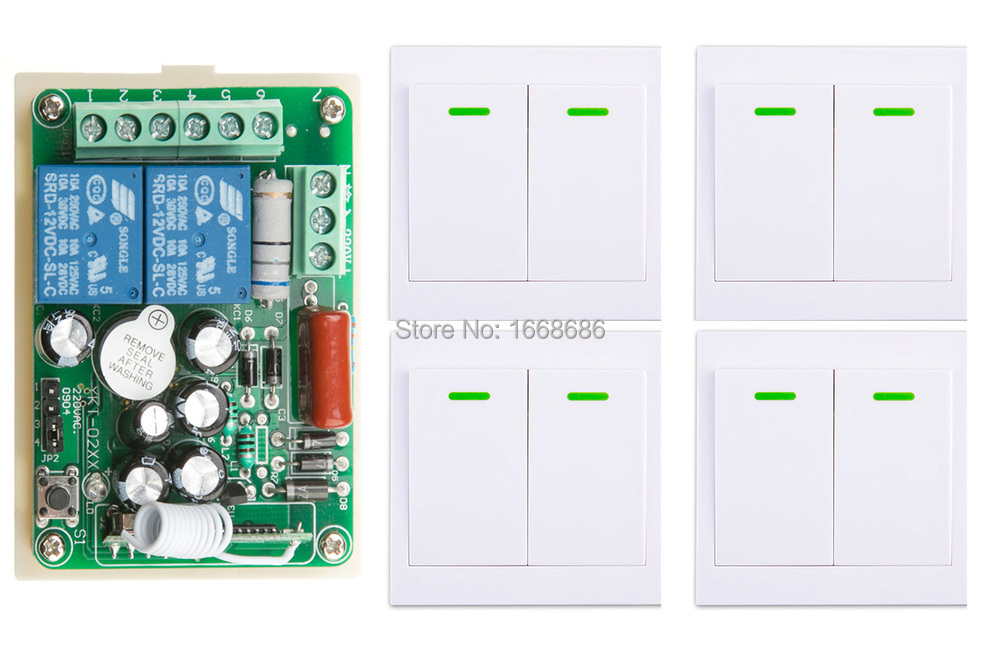 ФОТО New AC220V 2CH Wireless Remote Control Switch System Receiver + 4*Wall Panel Remote Transmitter Sticky Remote Smart Home Switch