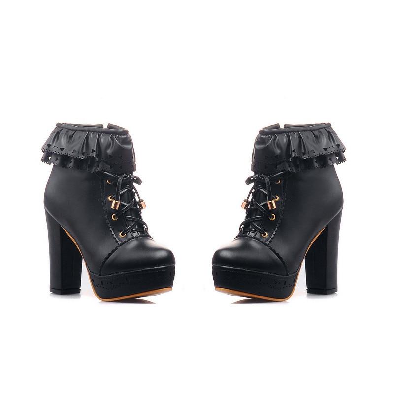 где купить  Womens Office Party Sweet Lolita Platform Chunky High Heel PU Lace up Black Boots 9 B (M) US  по лучшей цене