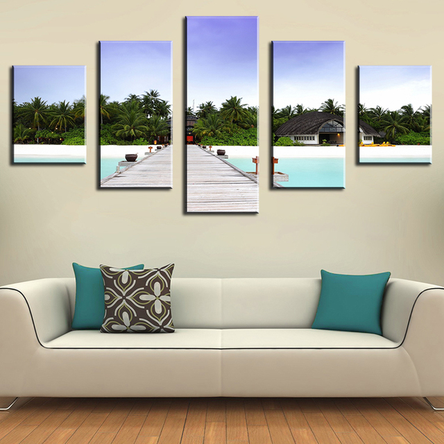 Angsana Velavaru Maldive Modern Home Wall Decor Canvas Picture Art