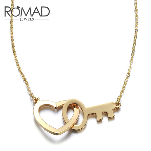 2017Romad Love the key rose gold collarbone chain girl short style