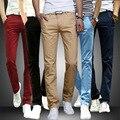Mens Calças Skinny Retas Casual Estiramento Slim Fit Sólida Faixa Calças Suor Calças Calças Calças Primavera Outono Roupas masculinas