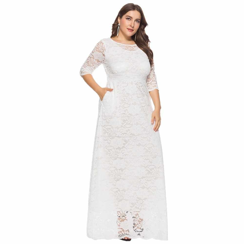 77501d79e9d Plus Size Long Sleeve White Lace Dress - Data Dynamic AG