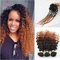 7A Ombre Virgem Onda Profunda malaio 3 Pacotes Com Fecho cabelo Com O Fechamento Da Malásia Profunda Curly Weave Do Cabelo Humano Com fechamento