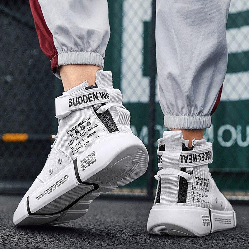 Otoño Invierno nuevo Hip Hop High Top negro rojo blanco zapatos masculinos  zapatos de los hombres clásicos de las zapatillas para los hombres primera  marca ... 56df2041853