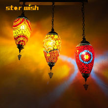 star wish Bohemian hanging light Southeast Asia Cafe Restaurant Hotel Club Decoration Handmade Glass Turkish Chandelier()