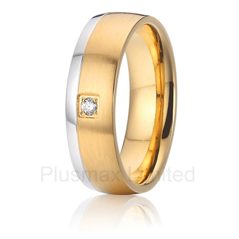 new arrival anel masculino ouro anti allergic titanium jewelry for women two tone wedding band rings anel feminino ouro gold color two color europe style cheap custom titanium promise wedding rings band women