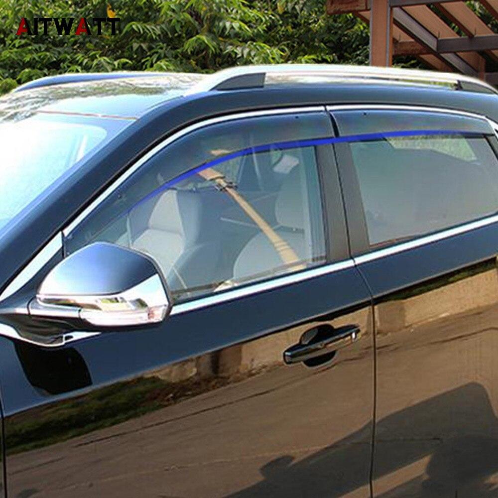 Pour MG ZS 2018 voiture accessoires fenêtre visière soleil pluie Vent déflecteur auvent bouclier Vent garde ombre couverture garniture 4 pièces AITWATT