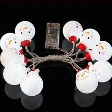 String Fairy Light Snowman LED Bulb Battery Opetated Christmas Xmas Tree Home Decor Ornament High Quality