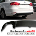 Matt Black Rear Bumper Lower Guard Spoiler Skirts Underbody Trims For Jetta GLI MK6 Fit 2 Or 4 Exhaust tail End Pipes Muffler