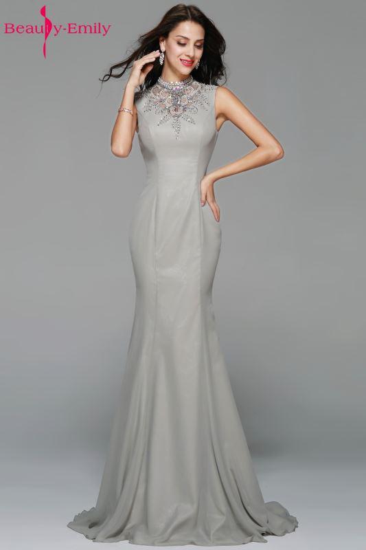 Bolas de lujo de Emily Emily gris sirena vestidos de noche 2018 - Vestidos para ocasiones especiales