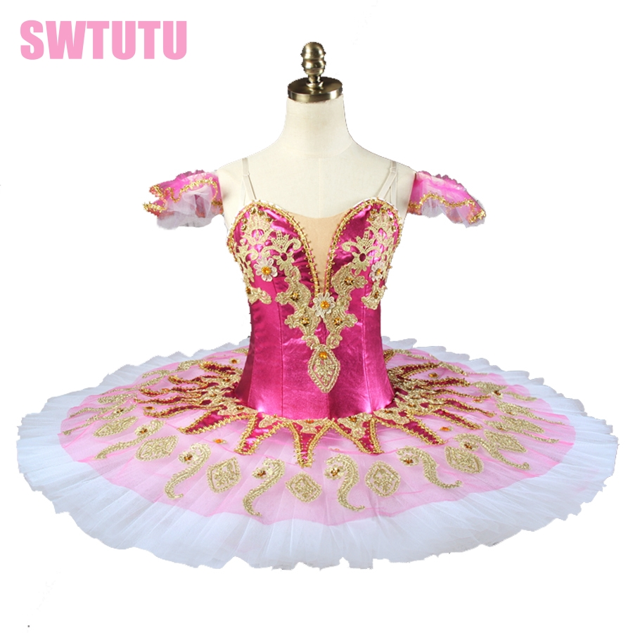 News rose red peformance ballet tutu  princess florina women  pancake ballet tutu professional ballet stage costume BT9134G