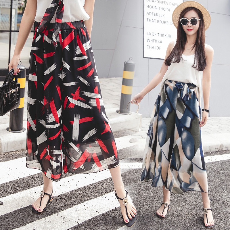 thin Loose sagging Sashes broad-legged   Wide     Leg     pants   skirt women summer Chiffon print female high waist Ankle-Length trousers