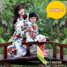 New high quality parent-children match flower rain coat for kids / children and ladys / women nice waterproof rainwear