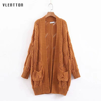 2019 Autumn Knitted Hollow Long Sleeve Cardigan Sweater Women V neck Pink Sweaters Female Casual Loose Jumper Coat Outwear Tops