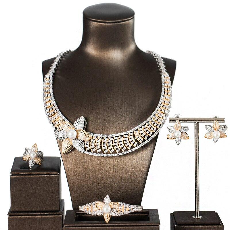 2018 luxe étincelant complet strass Zircon collier boucles d'oreilles Bracelet bague femmes or argent couleur bijoux ensemble