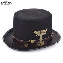 Ny kostym Sombreros Steam Punk Top Hat med Bälte & Växlar Nyckel Tillbehör Retro Trilby Mössor Gothic Fancy Dress