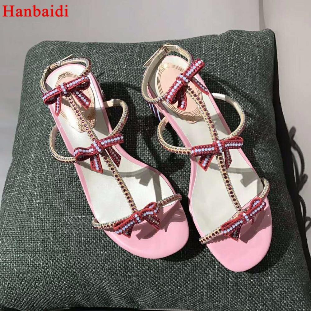 Hanbaidi Nouvelles Femmes D'été Sandales Bling Bling Cristal Décor Bowknot Sandales Piste Chunky Talons Pompes Gladiateur Sandales Femmes 40