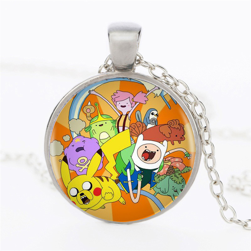 1pcs lot Adventure Time Pendant Adventure Time Photo Necklace Cartoon Art Silver Retro Necklace Jewelry Children