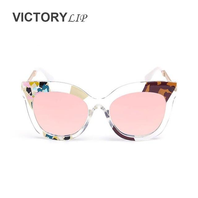 1f18d7d31ebd44 VictoryLip 2016 New Camou Métal Transparent Cadre Marque Designer Miroir Or  Rose Grandes Lunettes De Soleil