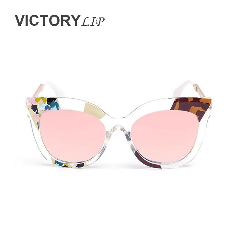bb9e809ea7 VictoryLip 2016 New Camou Metal Transparent Frame Brand Designer Mirror  Rose Gold Large Sunglasses Women Sun glasses Lady Female