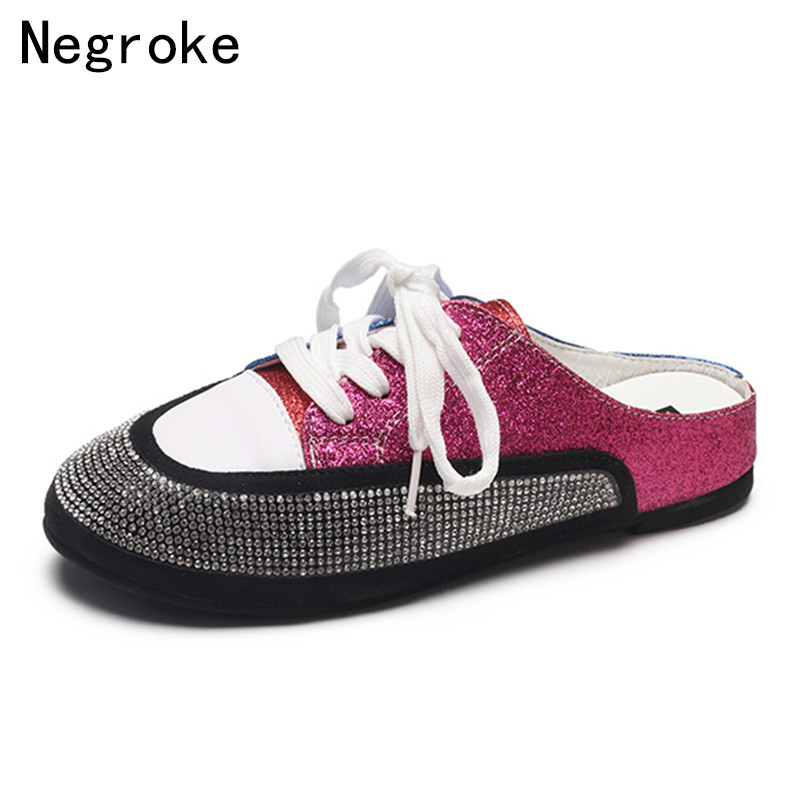 Summer Sequined Shoes Women Glitter Rhinestone Sandals Casual Flats Multicolor Mules Blue Lolita Shoes Woman Zapatos Mujer 2018 instantarts women flats emoji face smile pattern summer air mesh beach flat shoes for youth girls mujer casual light sneakers