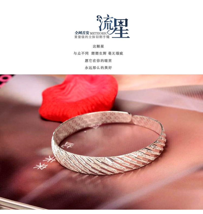 OMHXZJ Wholesale Fashion Elegant Woman Girl Gift Matte Meteor Shower 999 Sterling Silver Bracelet Bangle Open Adjustable SZ74