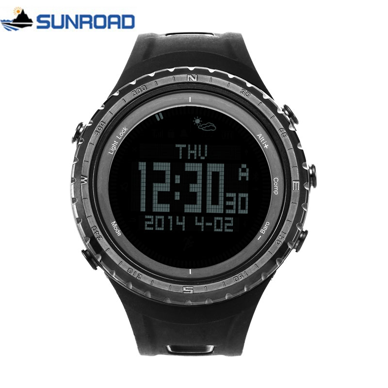 SUNROAD FR801 5ATM Waterproof Altimeter Compass Stopwatch Fishing Barometer Pedometer Outdoor Sport Digital Watch Backlight Men-in Digital Watches from Watches    1