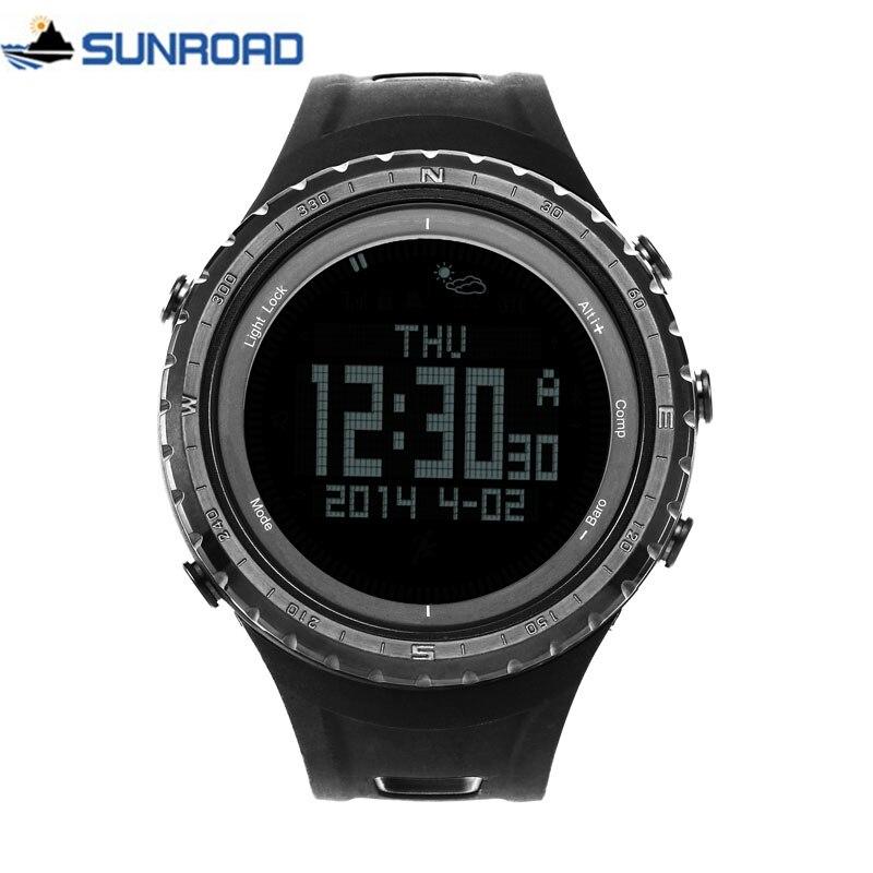 SUNROAD FR801 5ATM impermeable altímetro brújula cronómetro pesca barómetro podómetro deporte al aire libre Digital Reloj Backlight hombres-in Relojes deportivos from Relojes de pulsera    1