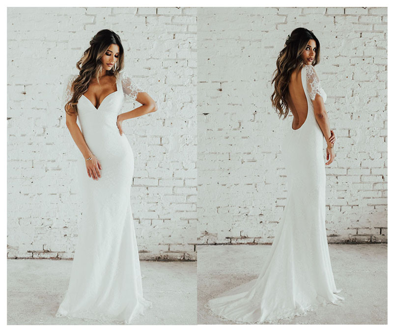 LORIE Lace Mermaid Wedding Dress Short Sleeves Bride Dress Open Back Robe De Soiree Elegant Boho Wedding Gowns 2019