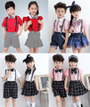 2016 New Arrival Girls Summer Wedding Skirt & Shirts Set with Bowtie Brand Formal Young Girls Boys School Uniform Children Suit