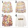 Moda feminina bordado Hoodies Emoji Emoticon roupas expressão impresso camisola dos desenhos animados Outfits Sudaderas Casual Tops