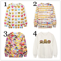Women Fashion Pullover Hoodies Emoji Emoticon Clothing Expression Printed Sweatshirt Cartoon Outfits Sudaderas Casual Tops
