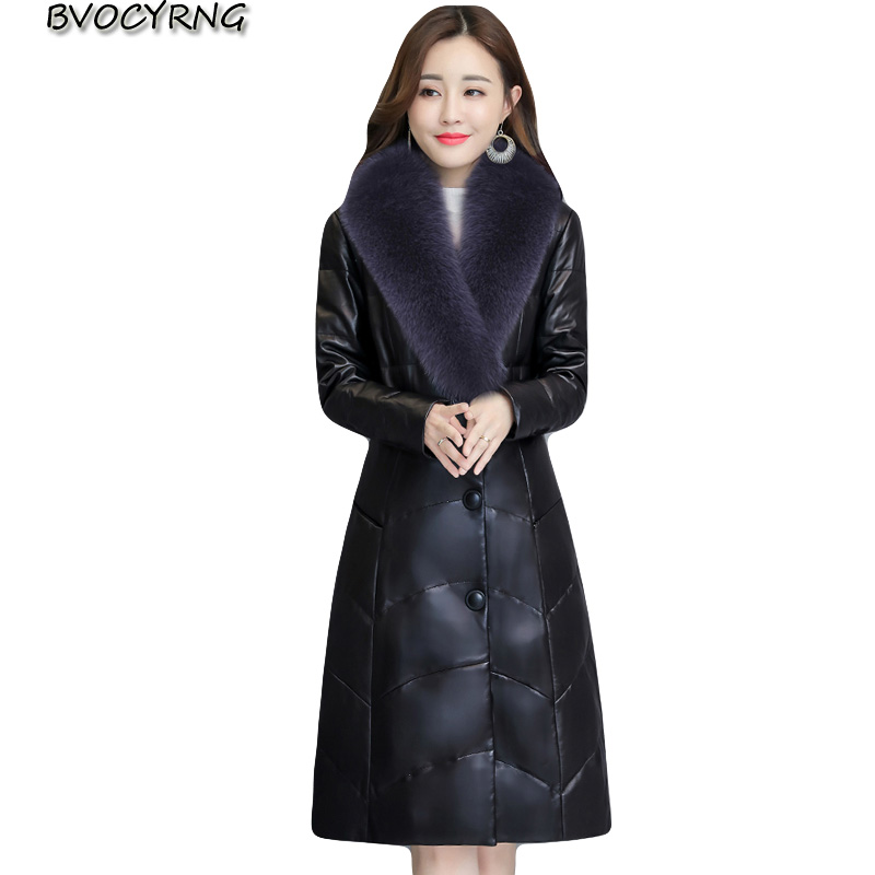 Hot New Women's Faux Fur Coat PU Leather Outerwear Winter Thick Warm Leather parka Long Fox fur collar Jacket Female Plus Size