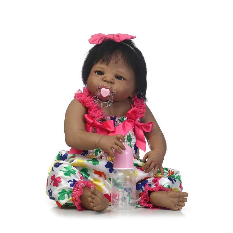 NPK 22inch black African girl American girl dolls 56 cm silicon baby born dolls lovely rebornd doll toy for girls free shipping 18 high quanlity lovely american princess baby hot girl doll lifelike baby dolls for girls