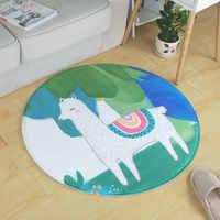 Cartoon Cute Alpaca Round Carpet Living Room Computer Chair Area Rug Children Play Tent Floor Mat Cloakroom Rugs And Carpets